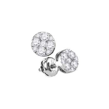 14kt White Gold Womens Round Diamond Flower Cluster Stud Earrings 1/2 Cttw 107407 - shirin-diamonds