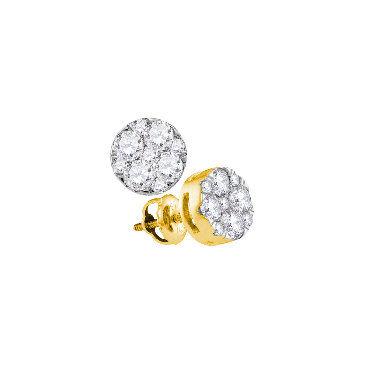 14kt Yellow Gold Womens Round Diamond Cluster Earrings 1.00 Cttw 107408 - shirin-diamonds