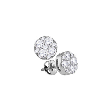 14kt White Gold Womens Round Diamond Cluster Earrings 1.00 Cttw 107409 - shirin-diamonds