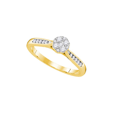 14kt Yellow Gold Womens Round Diamond Cluster Bridal Wedding Engagement Ring 1/4 Cttw 107426 - shirin-diamonds
