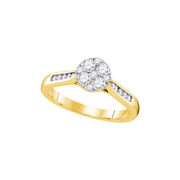 14kt Yellow Gold Womens Round Diamond Cluster Bridal Wedding Engagement Ring 1/2 Cttw 107428 - shirin-diamonds