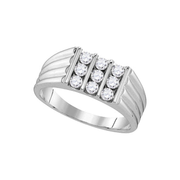 10kt White Gold Mens Round Diamond Triple Row Ribbed Wedding Band Ring 3/4 Cttw 107467 - shirin-diamonds
