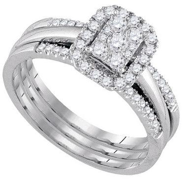 10kt White Gold Womens Diamond Cluster Bridal Wedding Engagement Ring Band Set 1/2 Cttw 107575 - shirin-diamonds