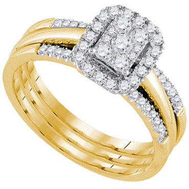 10kt Yellow Gold Womens Diamond Cluster Bridal Wedding Engagement Ring Band Set 1/2 Cttw 107576 - shirin-diamonds