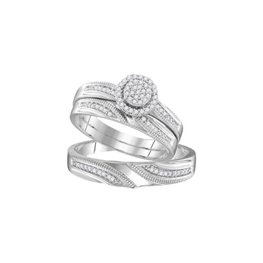 Sterling Silver His & Hers Round Diamond Cluster Matching Bridal Wedding Ring Band Set 1/4 Cttw 107700 - shirin-diamonds