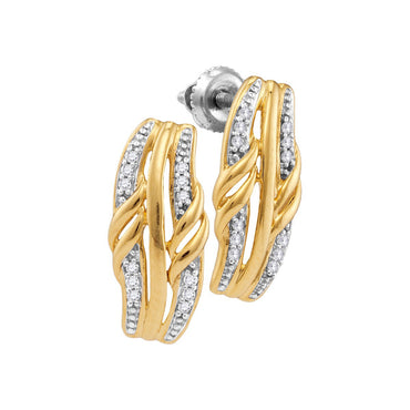 10kt Yellow Gold Womens Round Diamond Rectangle Cluster Stud Earrings 1/12 Cttw 108054 - shirin-diamonds
