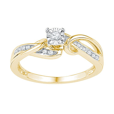 10kt Yellow Gold Womens Round Diamond Solitaire Bridal Wedding Engagement Ring 1/8 Cttw 108644 - shirin-diamonds