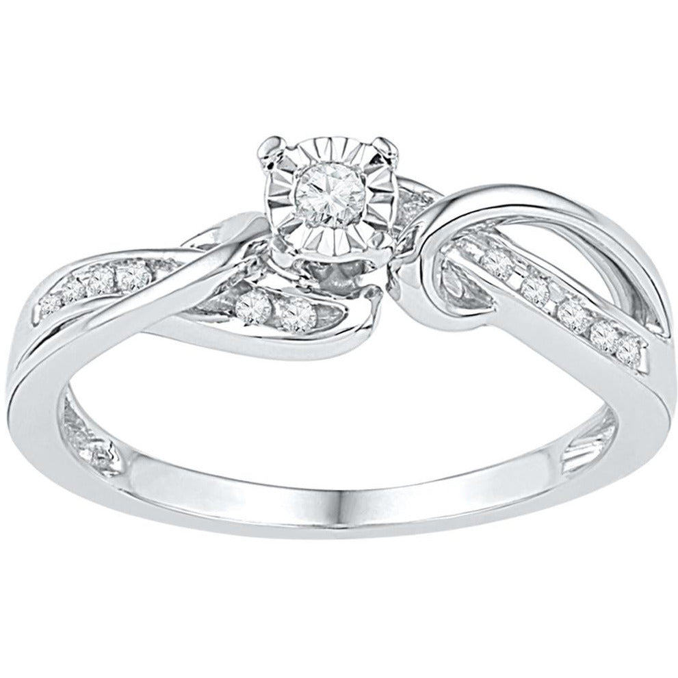 10kt White Gold Womens Round Diamond Solitaire Bridal Wedding Engagement Ring 1/8 Cttw 108645 - shirin-diamonds