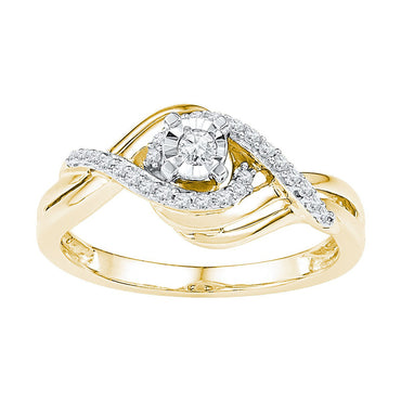 10kt Yellow Gold Womens Round Diamond Solitaire Bridal Wedding Engagement Ring 1/5 Cttw 108697 - shirin-diamonds