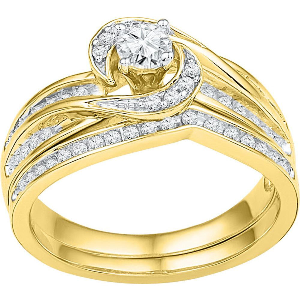 10k Yellow Gold Womens Round Diamond Swirl Bridal Wedding Engagement Ring Band Set 1/2 Cttw 108821 - shirin-diamonds