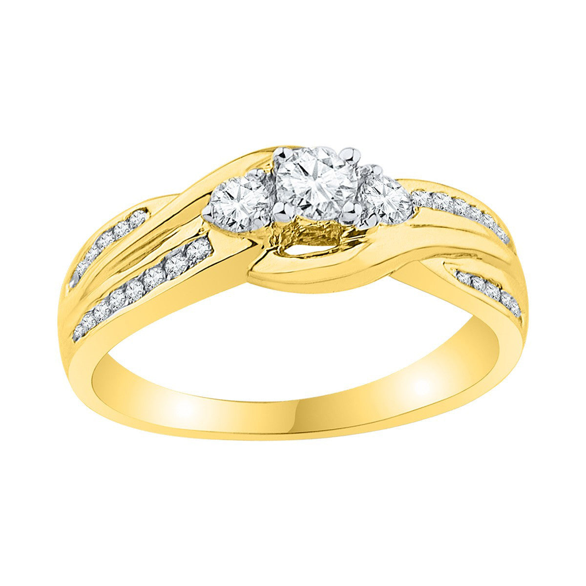 10k Yellow Gold Womens Round 3-stone Diamond Bridal Wedding Engagement Ring 1/2 Cttw 108824 - shirin-diamonds