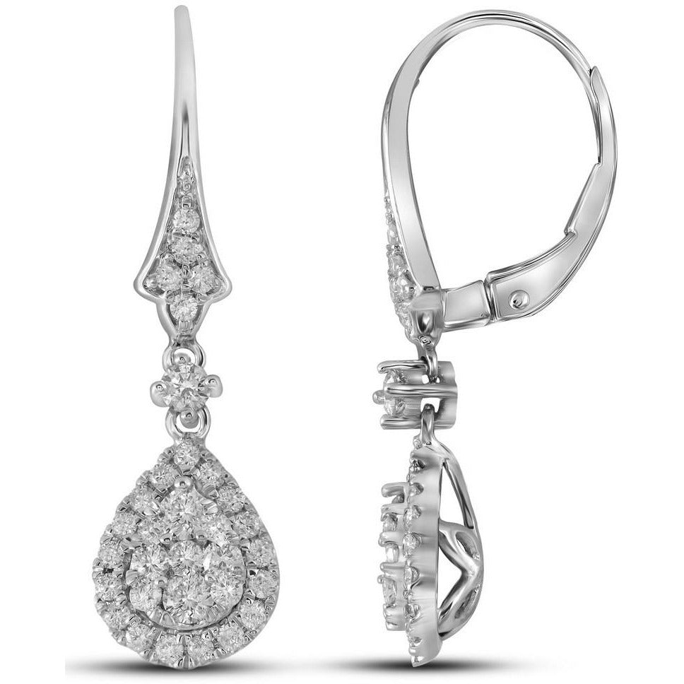14kt White Gold Womens Round Diamond Teardrop Cluster Dangle Earrings 3/4 Cttw 109383 - shirin-diamonds