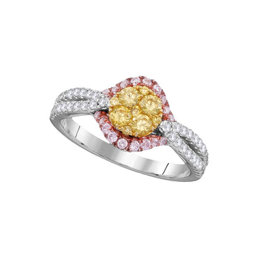 14kt White Gold Womens Round Yellow Diamond Cluster Bridal Wedding Engagement Ring 3/4 Cttw 109401 - shirin-diamonds
