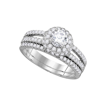 14kt White Gold Womens Round Diamond Halo Bridal Wedding Engagement Ring Band Set 1-1/2 Cttw 109503 - shirin-diamonds