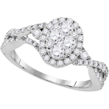 10kt White Gold Womens Round Diamond Oval Cluster Halo Twist Bridal Wedding Engagement Ring 1-1/8 Cttw 109518 - shirin-diamonds