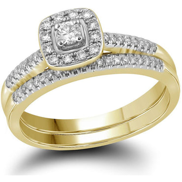 10kt Yellow Gold Womens Princess Diamond Square Halo Bridal Wedding Engagement Ring Band Set 1/3 Cttw 109546 - shirin-diamonds