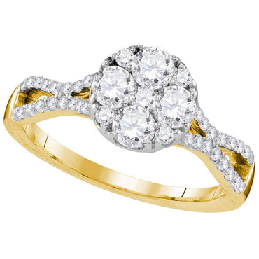 10kt Yellow Gold Womens Round Diamond Cluster Bridal Wedding Engagement Ring 1.00 Cttw 109552 - shirin-diamonds
