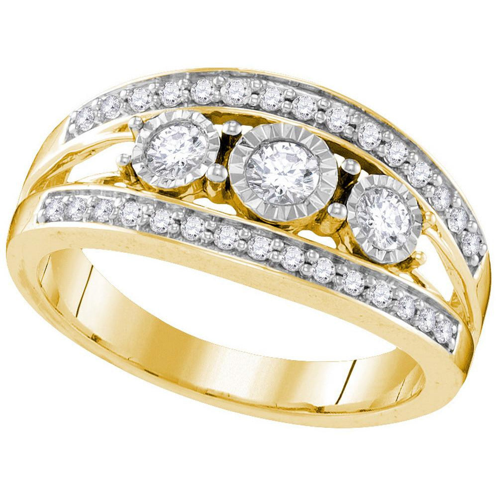10kt Yellow Gold Womens Round Diamond 3-stone Bridal Wedding Engagement Ring 1/2 Cttw 109554 - shirin-diamonds