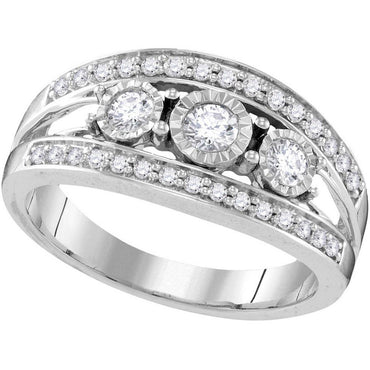10kt White Gold Womens Round Diamond 3-stone Bridal Wedding Engagement Ring 1/2 Cttw 109555 - shirin-diamonds