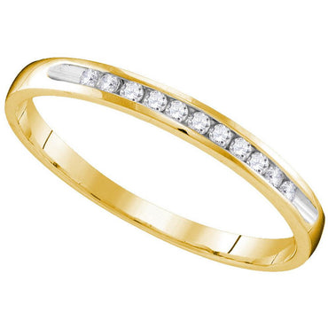 10k Yellow Gold Womens Round Diamond Wedding Anniversary Bridal Band Ring 1/10 Cttw 109609 - shirin-diamonds