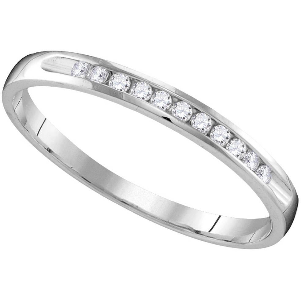 10k White Gold Womens Round Diamond Wedding Anniversary Bridal Band Ring 1/10 Cttw 109610 - shirin-diamonds