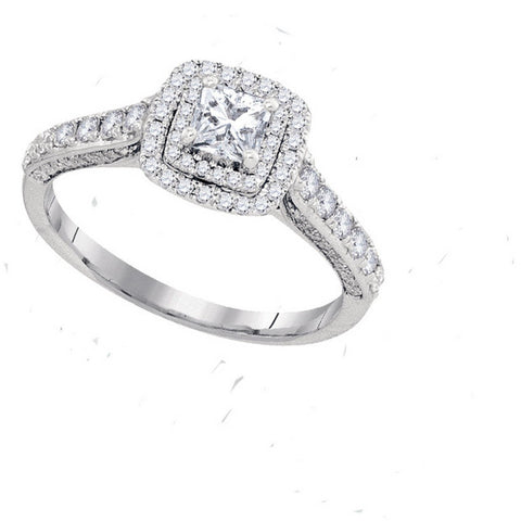 14kt White Gold Womens Princess Diamond Solitaire Bridal Wedding Engagement Ring 1.00 Cttw Size 11 (Certified) 109692 - shirin-diamonds
