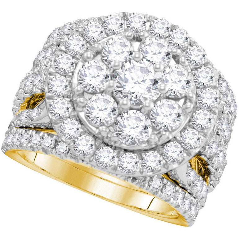 14kt Yellow Gold Womens Round Diamond Certified Halo Bridal Wedding Engagement Ring Band Set 4.00 Cttw 109726 - shirin-diamonds