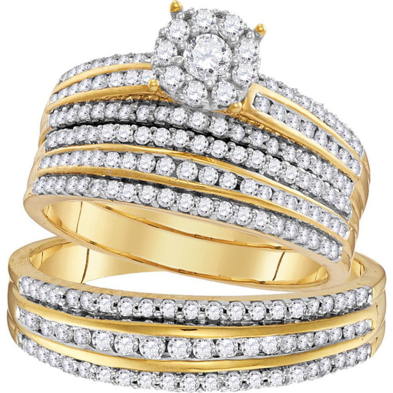 14kt Yellow Gold His & Hers Round Diamond Solitaire Matching Bridal Wedding Ring Band Set 1-1/4 Cttw 109751 - shirin-diamonds