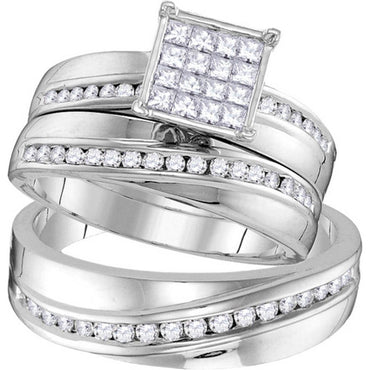 14kt White Gold His & Hers Round Diamond Cluster Matching Bridal Wedding Ring Band Set 7/8 Cttw 109758 - shirin-diamonds