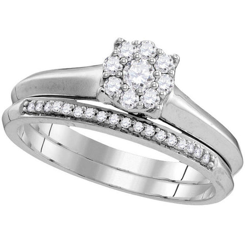 10k White Gold Womens Round Diamond Bridal Wedding Engagement Ring Band Set 1/3 Cttw 109776 - shirin-diamonds