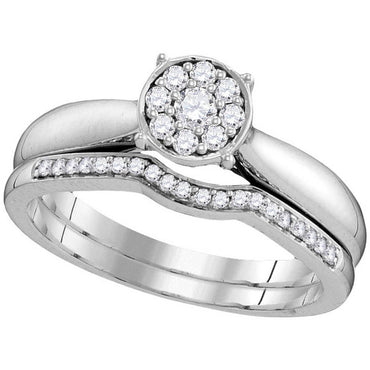 10kt White Gold Womens Round Diamond Bridal Wedding Engagement Ring Band Set 1/4 Cttw 109780 - shirin-diamonds