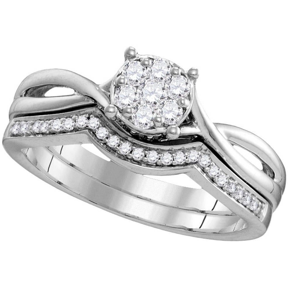 10kt White Gold Womens Round Diamond Twist Bridal Wedding Engagement Ring Band Set 1/3 Cttw 109784 - shirin-diamonds