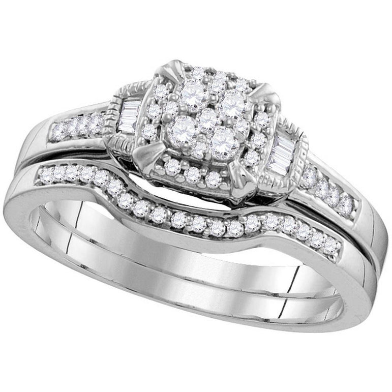 10k White Gold Womens Round Diamond Cluster Bridal Wedding Engagement Ring Band Set 3/8 Cttw 109786 - shirin-diamonds