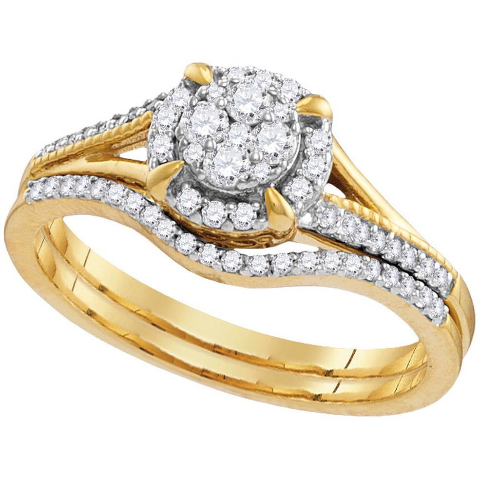 10k Yellow Gold Round Diamond Cluster Bridal Wedding Engagement Ring Band Set 1/3 Cttw 109791 - shirin-diamonds