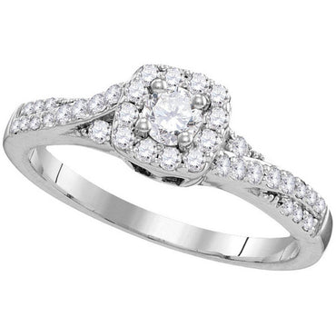10k White Gold Round Diamond Solitaire Bridal Wedding Engagement Ring Band Set 1/2 Cttw 109821 - shirin-diamonds