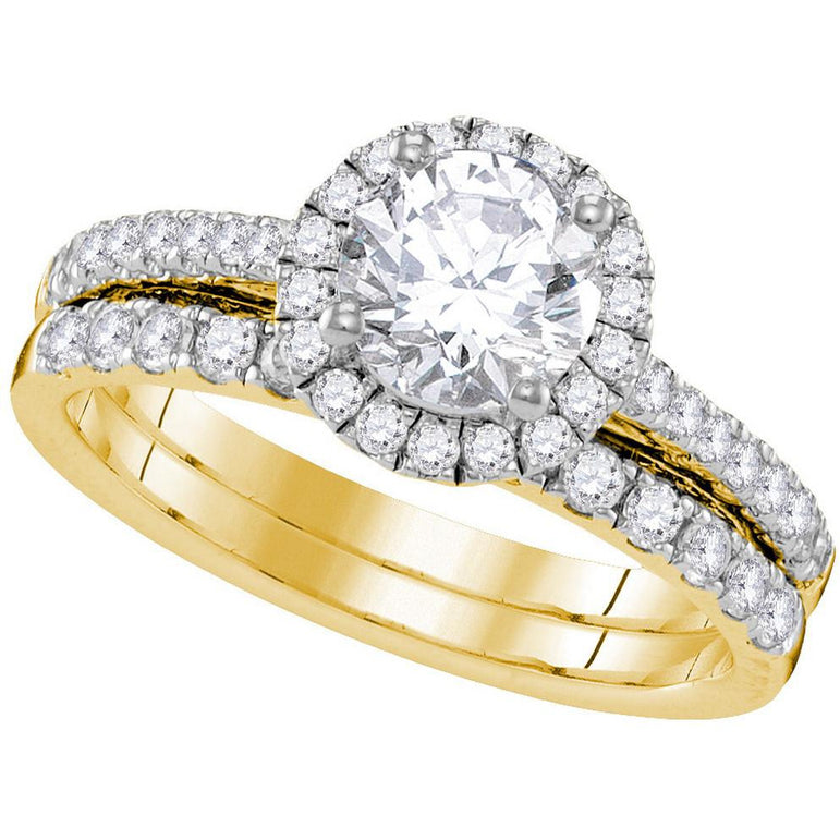 14kt Yellow Gold Womens Round Diamond Halo Bridal Wedding Engagement Ring Band Set 1-1/3 Cttw 109838 - shirin-diamonds