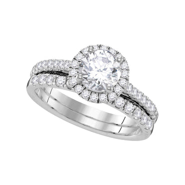 14kt White Gold Womens Round Diamond Halo Bridal Wedding Engagement Ring Band Set 1-1/3 Cttw 109840 - shirin-diamonds