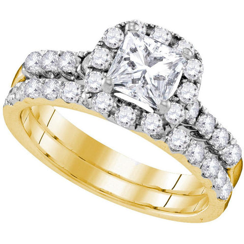 14kt Yellow Gold Womens Princess Diamond Bridal Wedding Engagement Ring Band Set 1-7/8 Cttw 109848 - shirin-diamonds