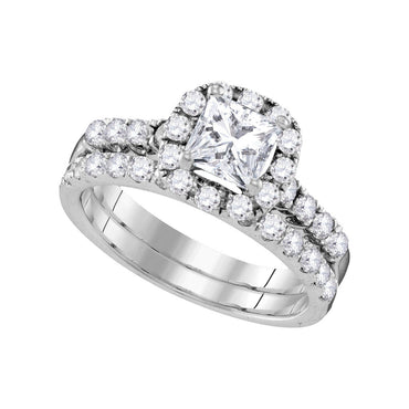14kt White Gold Womens Princess Diamond Bridal Wedding Engagement Ring Band Set 1-7/8 Cttw 109854 - shirin-diamonds