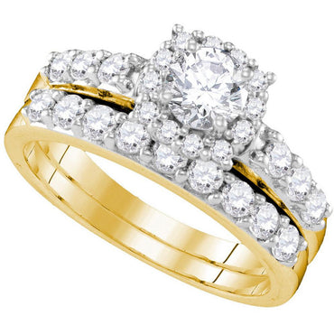 14k Yellow Gold Womens Round Diamond Halo Bridal Wedding Engagement Ring Band Set 1-1/2 Cttw 109870 - shirin-diamonds