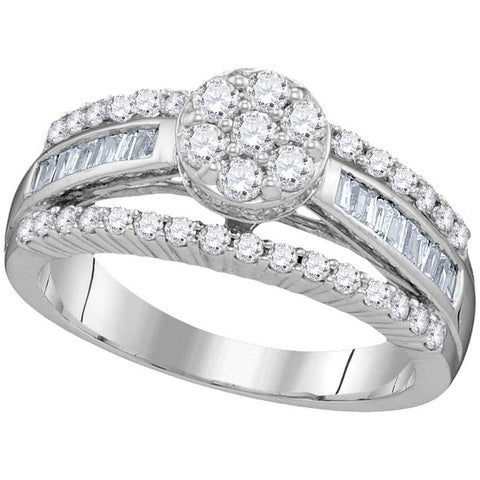 10kt White Gold Womens Round Diamond Flower Cluster Bridal Wedding Engagement Ring 1.00 Cttw 109882 - shirin-diamonds