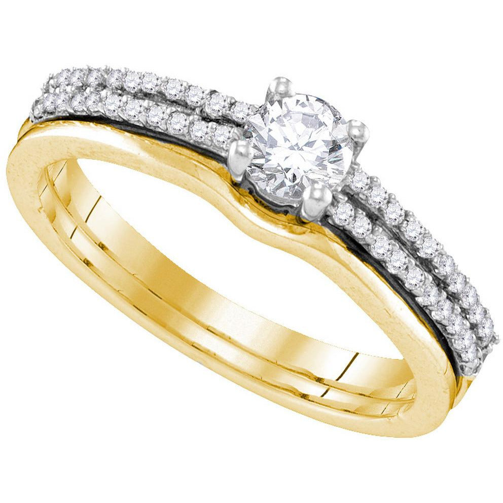 14kt Yellow Gold Womens Round Diamond Slender Double Row Bridal Wedding Engagement Ring Band Set 1/2 Cttw 109897 - shirin-diamonds