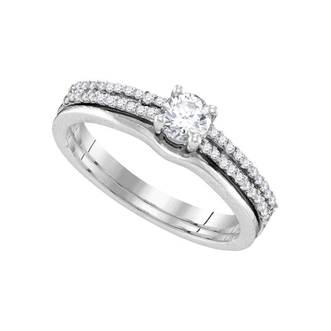 14k White Gold Womens Round Diamond Slender Double Row Bridal Wedding Engagement Ring Band Set 1/2 Cttw 109899 - shirin-diamonds