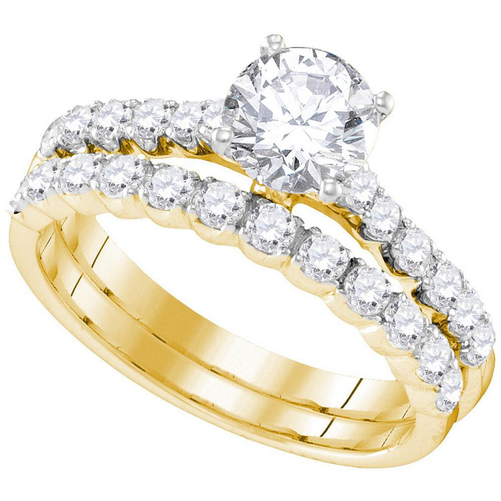 14kt Yellow Gold Womens Round Diamond Bridal Wedding Engagement Ring Band Set 2-1/5 Cttw 109903 - shirin-diamonds