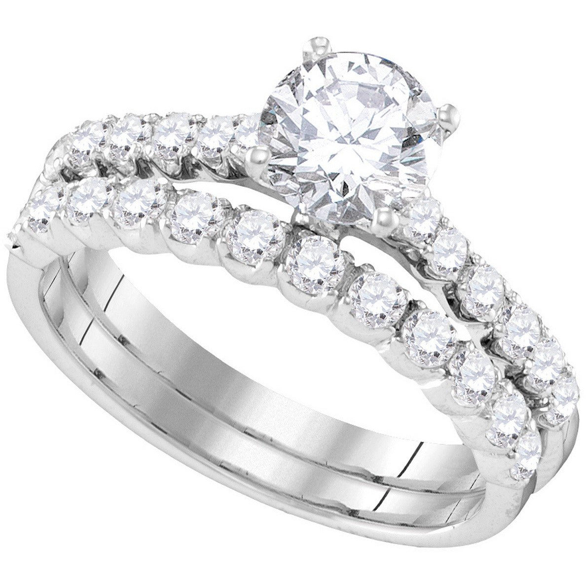 14kt White Gold Womens Round Diamond Bridal Wedding Engagement Ring Band Set 2-1/5 Cttw 109905 - shirin-diamonds