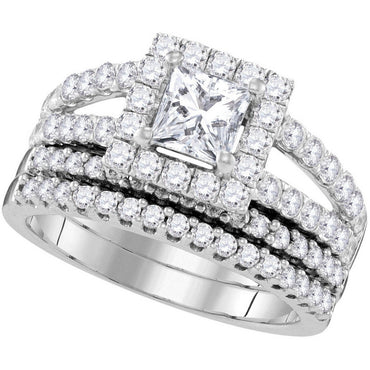 14kt White Gold Womens Princess Diamond Split-shank Bridal Wedding Engagement Ring Band Set 3/4 Cttw 109922 - shirin-diamonds