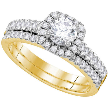 14kt Yellow Gold Womens Round Diamond Halo Bridal Wedding Engagement Ring Band Set 1-1/4 Cttw 109942 - shirin-diamonds