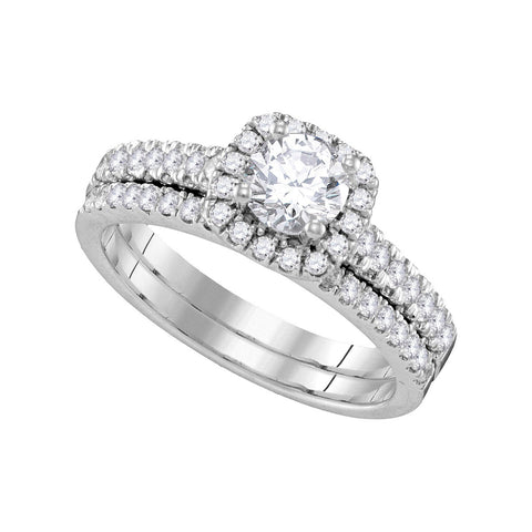 14kt White Gold Womens Round Diamond Halo Bridal Wedding Engagement Ring Band Set 1-1/4 Cttw 109945 - shirin-diamonds