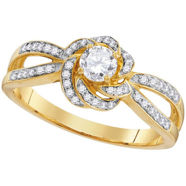 10k Yellow Gold Womens Round Diamond Solitaire Bridal Wedding Engagement Ring 3/8 Cttw 109981 - shirin-diamonds