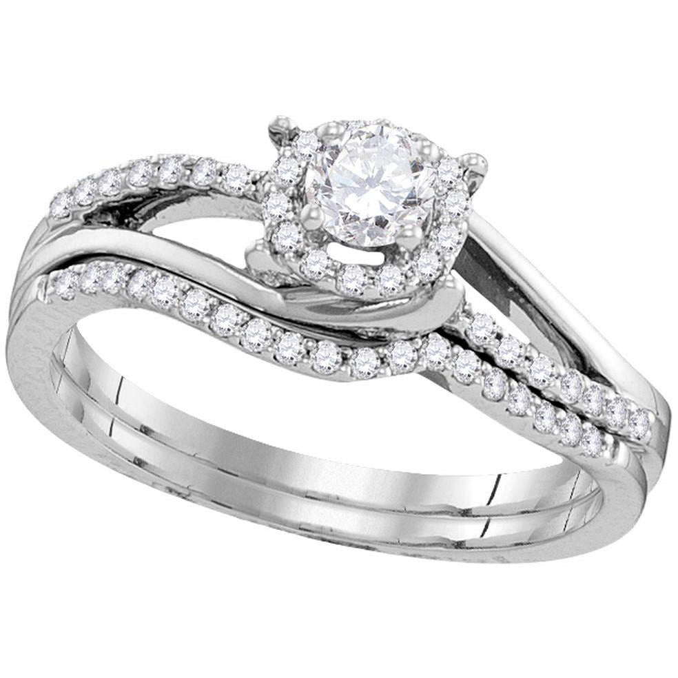 10k White Gold Womens Round Diamond Halo Bridal Wedding Engagement Ring Band Set 1/2 Cttw 109984 - shirin-diamonds